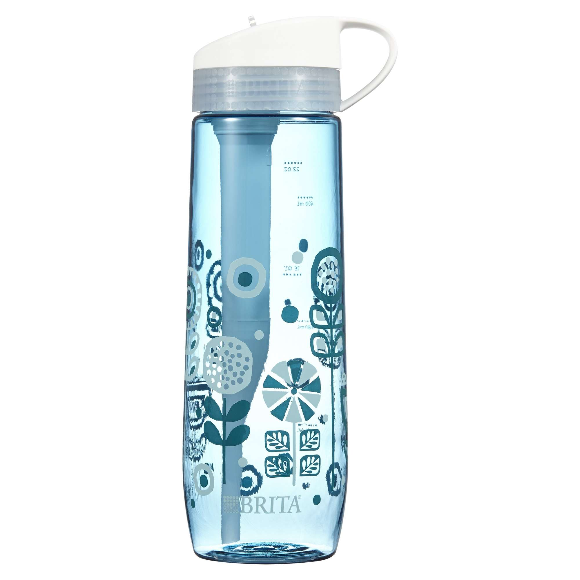 Brita Hard Sided Water Bottle with 1 Filter, BPA Free, Printed Blue, 23.7 oz.