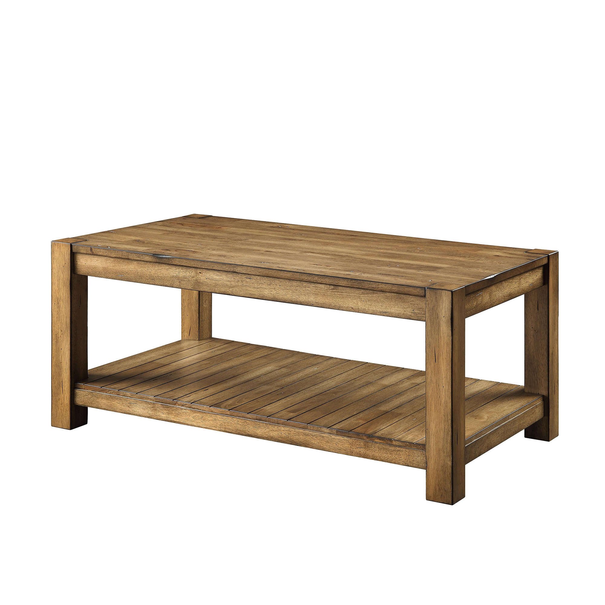 Better Homes U0026 Gardens Bryant Solid Wood Coffee Table, Rustic Maple Brown  Finish