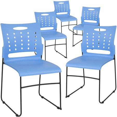 Flash Furniture 5 Pk. HERCULES Series 881 lb. Capacity Blue Sled Base Stack Chair with Air-Vent Back ()