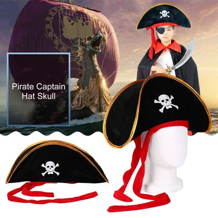 Pirate Captain Hat Skull Crossbone Cap Costume Fancy Dress Party Halloween - Pirates Hats