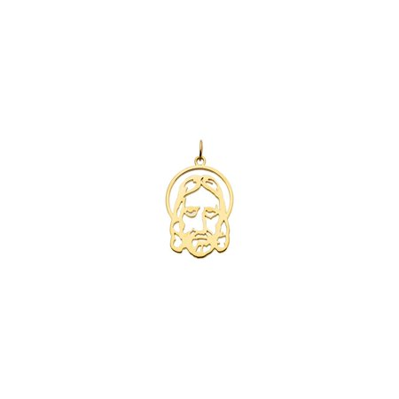 14K Solid Yellow Gold Silhouetted Face of Jesus Pendant