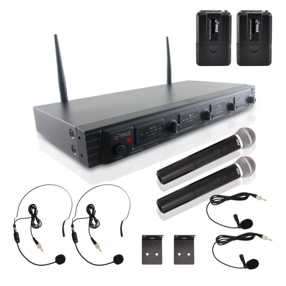 Pyle PDWM4540 - Wireless Microphone System, UHF Quad Channel Fixed Frequency, 2 Handheld Microphones, 2 Body-Pack Transmitters, 2 Headset & 2 Lavalier Mics, Rack Mountable