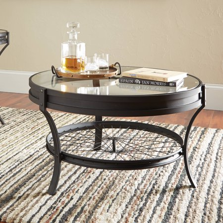 Coaster Round Glass Top Coffee Table in Sandy Black ()