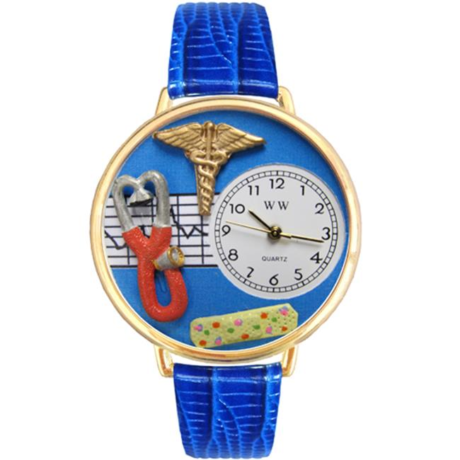 Whimsical Gifts G-0620059 Nurse 2 Blue Watch In Gold Large