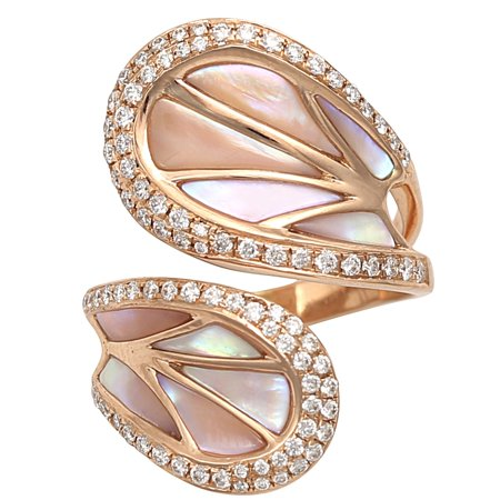 Prism Jewel 2.33 Carat Natural Round Diamond With Natural Shell Designer Bypass Ring in 14k Rose Gold, Size 5