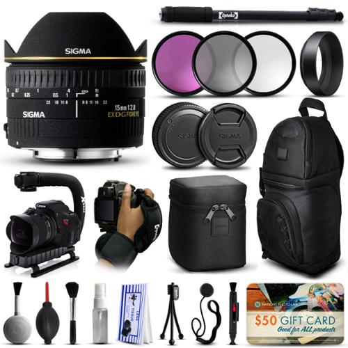 "Sigma 15mm F2.8 EX DG Fisheye Lens for Nikon (476306) + 3 Piece Filter Set (UV-CPL-FLD) + Stabilizer Handle + Sling Backpack + 67"" Monopod + Wrist Strap + Cleaning Kit + $50 Gift Card"