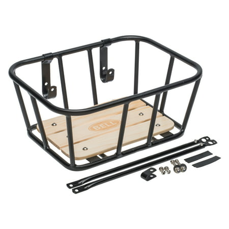 Bell Sports Tote 900 Front Metal Bicycle Basket with Wood Base, Black