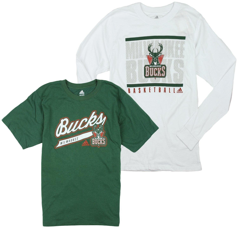 Adidas NBA Basketball Youth Milwaukee Bucks 2-In-1 Long Sleeve T-Shirt Combo