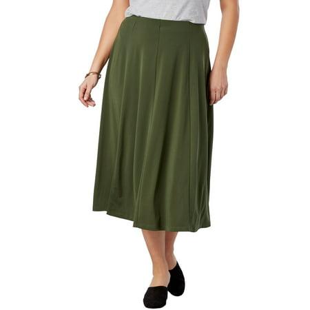 b2bcc24007 Woman Within - Plus Size A-line Knit Midi Skirt - Walmart.com