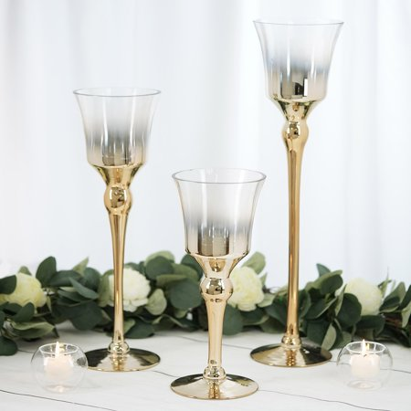 Chrome Pillar Covers (BalsaCircle 3 Ombre Wine Glass Pillar Candle Holders - Party Wedding Dining Reception Event Centerpieces Home Wholesale Decorations )