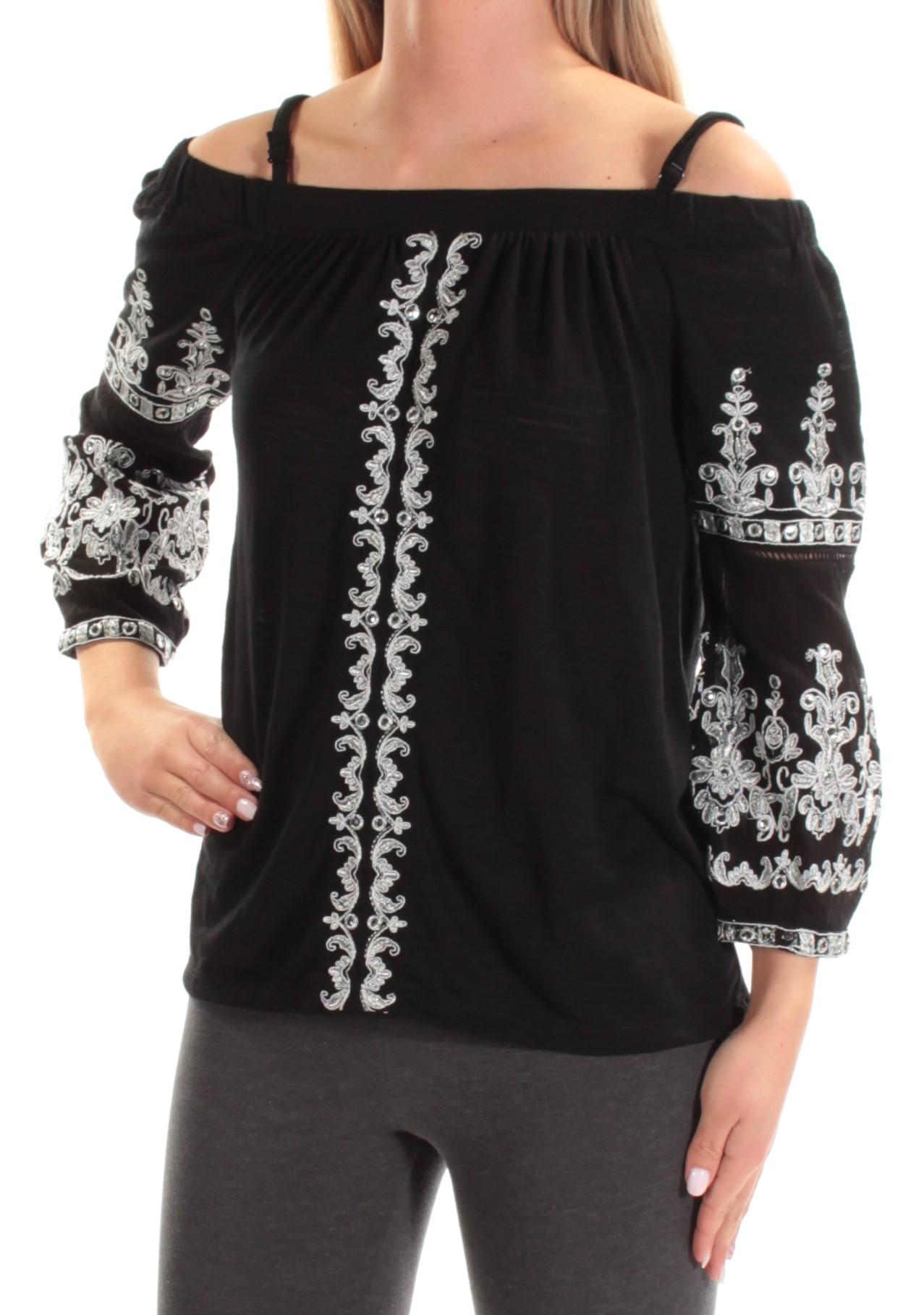 INC Womens Silver Cold Shoulder Embroidered Rhinestone Spaghetti Strap Square Neck Top Petites  Size: S