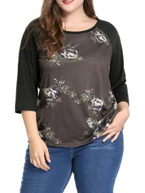 Women's Plus Size Floral Scoop Neck 3/4 Raglan Sleeves T-shirt