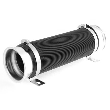 Car Auto Black Silver Tone Adjustable 9.5cm Dia Cold Flexible Air Intake Pipe - image 1 of 1