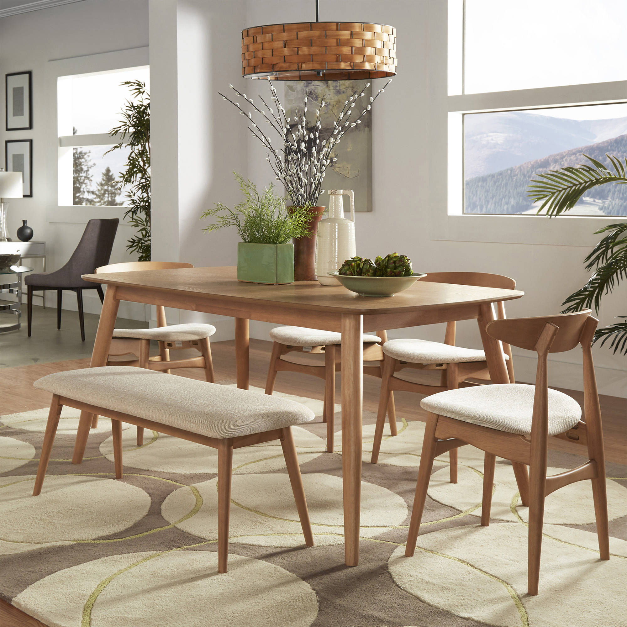 """Chelsea Lane Mid Century Modern 6 pc Dining Set, 60"""" Dining Table, Multiple Finishes"""