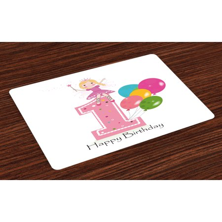 1st Birthday Placemats Set of 4 Princess Fairy Party Theme with Best Wishes Pink Wand and Balloons, Washable Fabric Place Mats for Dining Room Kitchen Table Decor,Pale Pink and Lilac, by (Best Place For 1st Birthday Party)