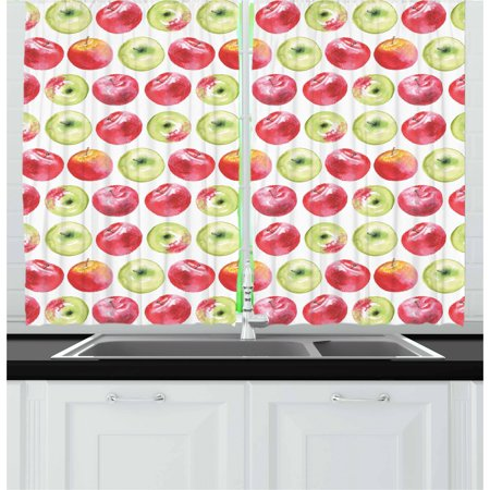 Apple Curtains 2 Panels Set, Watercolor Macoun Cameo and Granny Smith Drawing in Agricultural Yield Pattern, Window Drapes for Living Room Bedroom, 55W X 39L Inches, Apple Green Red, by Ambesonne ()