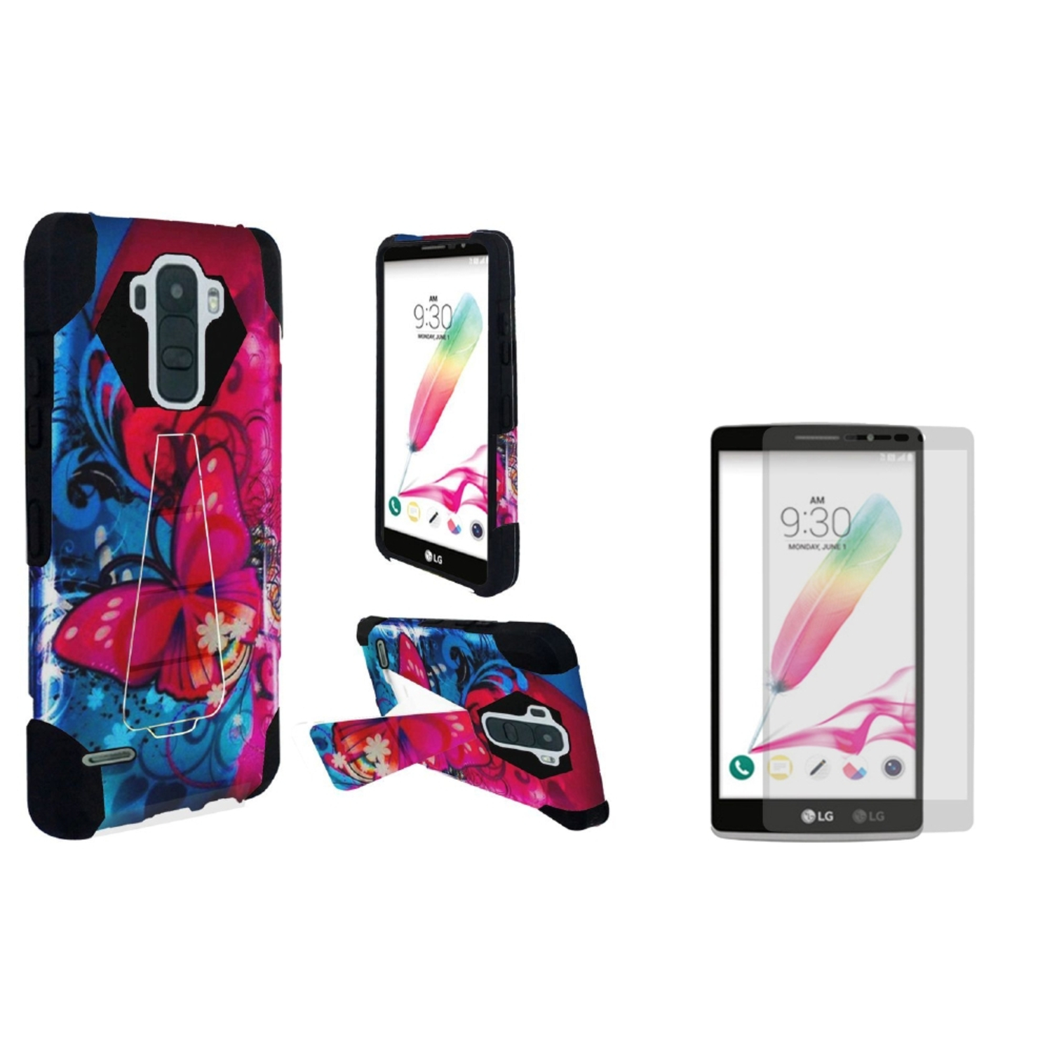 Insten Butterfly Bliss Hard Hybrid Plastic Silicone Case For LG G Stylo 2 - Blue/Pink (with Tempered Glass Protector)