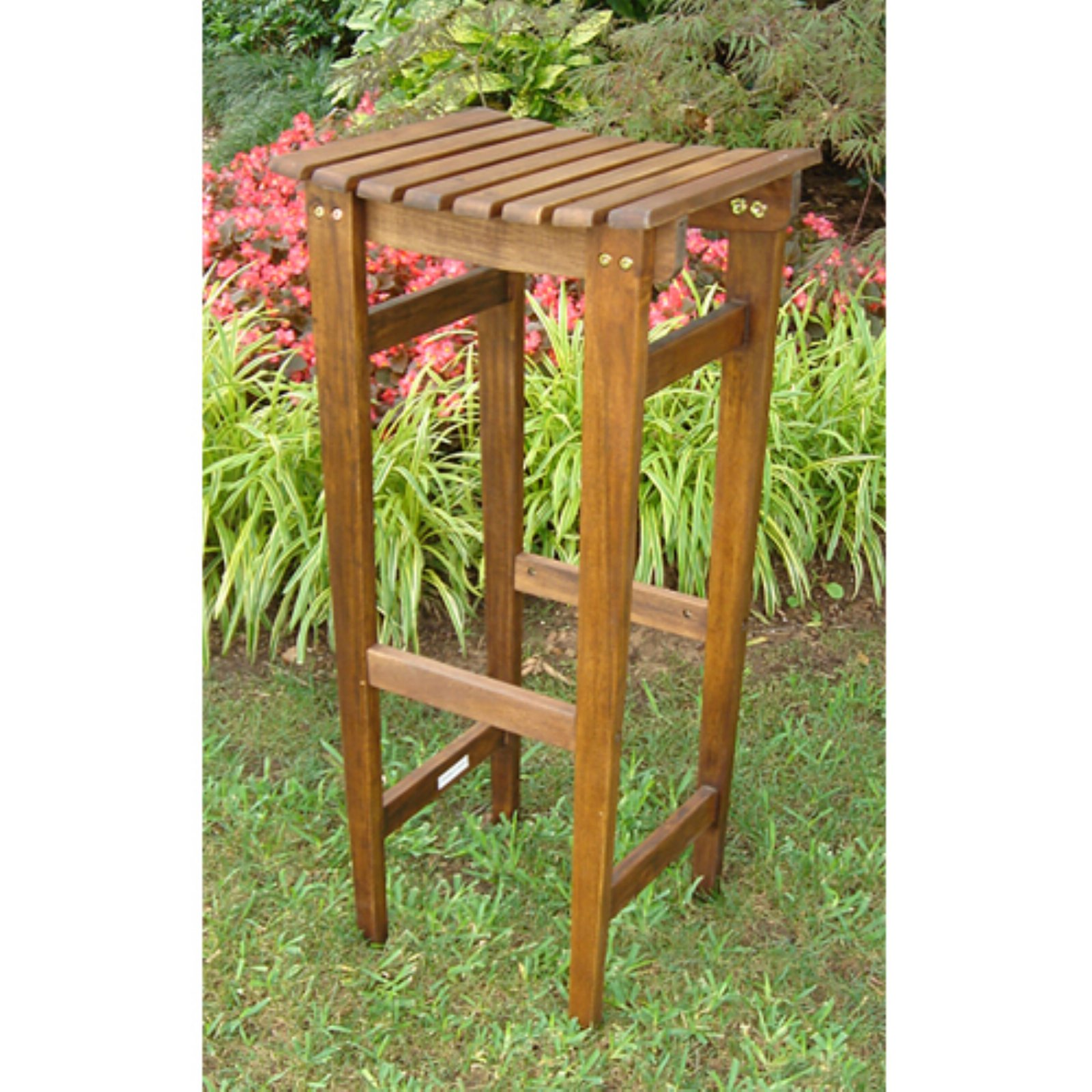 International Caravan Highland Outdoor Acacia Backless Bar Stools - Set of 2