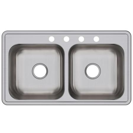Dayton Stainless Steel 33u0022 x 19u0022 x 8u0022, Equal Double Bowl Drop-in Sink