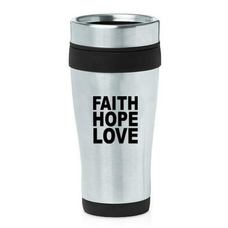 16oz Insulated Stainless Steel Travel Mug Faith Hope Love (Black),MIP