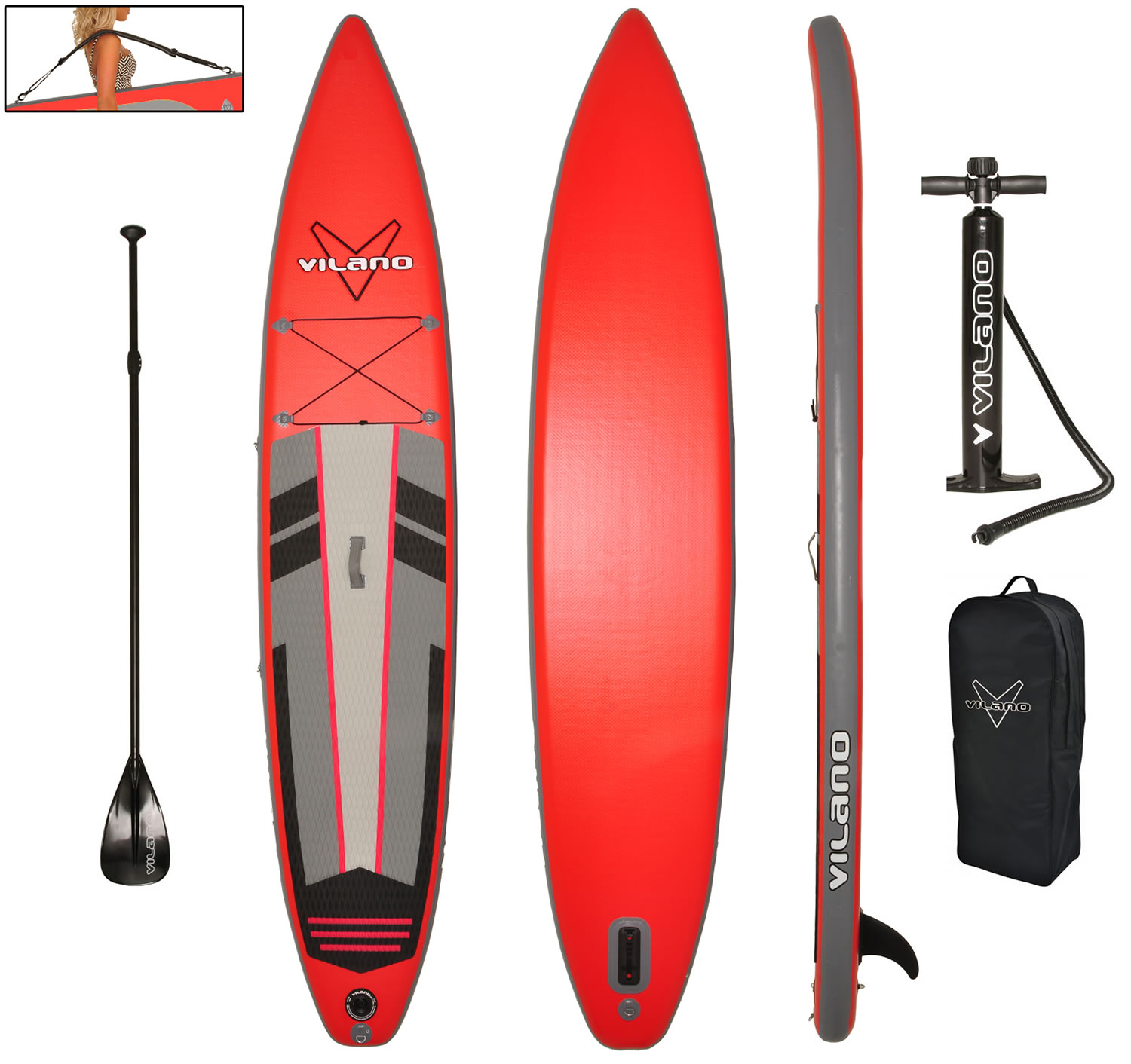 Vilano 12' Inflatable Touring / Race SUP Stand Up Paddle ...