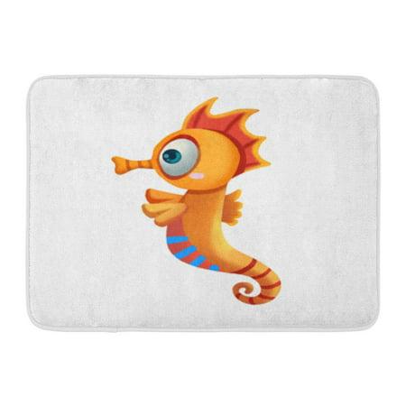 LADDKE Colorful Scene Sea Horse Realistic Cartoon Life Underwater Aid Doormat Floor Rug Bath Mat 30x18 inch