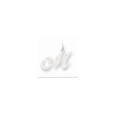 14K White Gold Medium Fancy Script Initial M Char