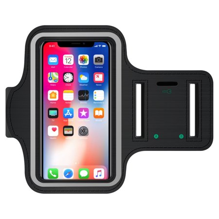 Adjustable Velcro Sports Armband (iPhone X, 8 & 7, Touch Supported (Fingerprint Access is Not Supported) Exercise Armband with Key Holder and Adjustable Velcro Band for Apple iPhone X, 8 & 7 - Black)
