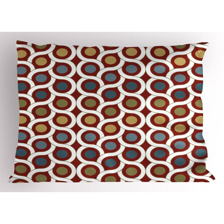 Abstract Pillow Sham Geometric Interlace Circular Forms Dots Rounds in Symmetric Lines Art Design, Decorative Standard Size Printed Pillowcase, 26 X 20 Inches, Ruby Khaki Blue, by Ambesonne (Forms Dot)