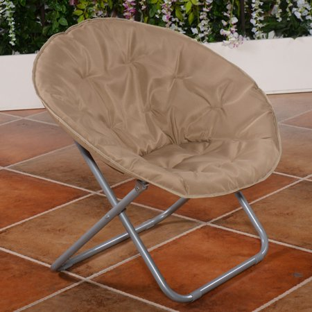 Large Folding Saucer Moon Chair Den Tv Living Room Round Seat Durable Steel