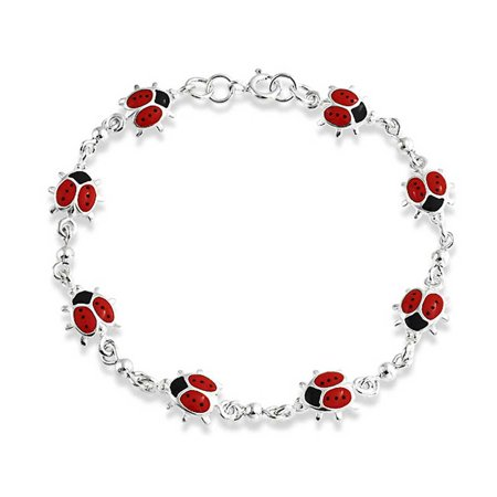 Red Lucky Ladybugs Small Enamel Station Charm Bracelet For Women For Teens 925 Sterling Silver