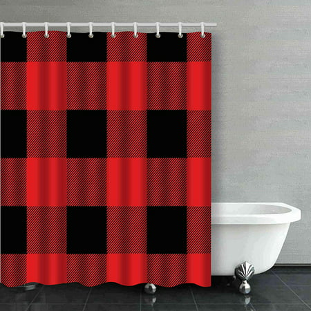 BPBOP Rustic Red And Black Buffalo Check Plaid Bathroom Shower Curtain 66x72 Inches