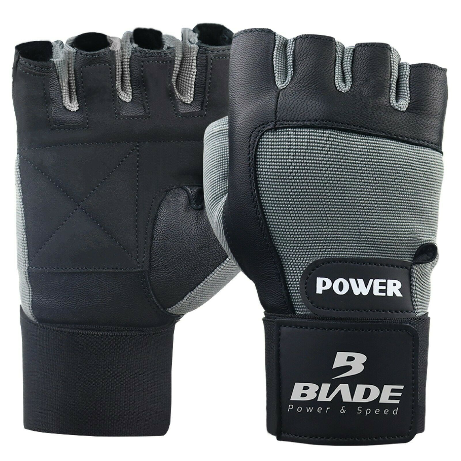 Weight Lifting Gloves Workout Fitness Gym Training Wristband Strap Black/&Grey