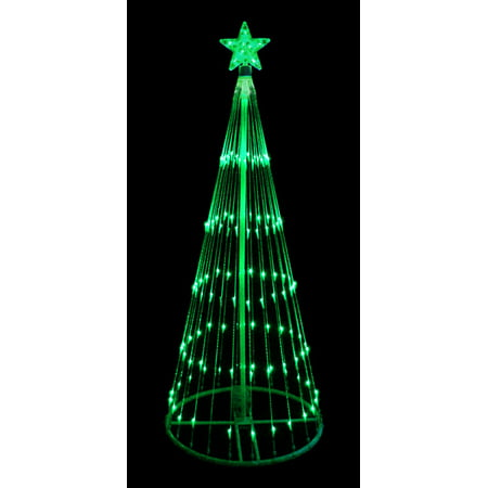 9 Green Led Light Show Cone Christmas Tree Lighted Yard