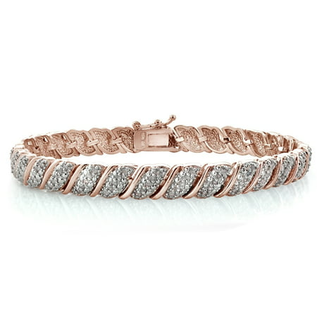 - 18K Rose Gold Plated 1ct TDW Diamond Fancy Design Tennis Bracelet