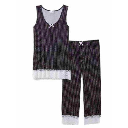 Dot Capri Pajama - Kathy Ireland Womens Black & White Dot Lacy Pajama Set Top & Capri Bottoms PJs