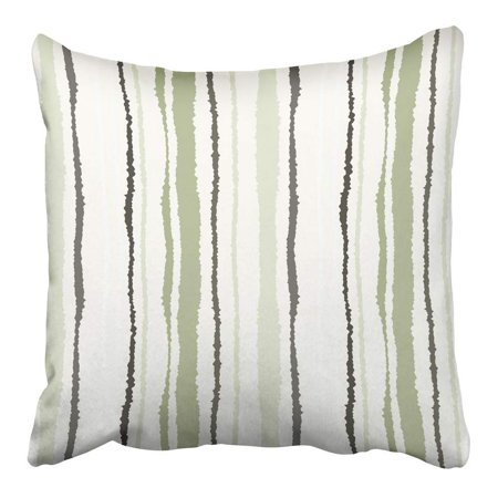USART Strip Lines with Torn Effect Shred Edge Olive Gray Cream Colors on White Pillowcase Cushion Cover 20x20 inch