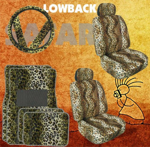 - 11pc Safari Tan Leopard Print Car Floor Mats, Low Back Seat Covers, Steering Wheel Cover & Shoulder Pad Set by Unique Imports