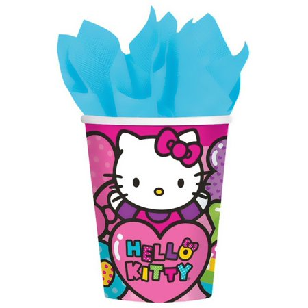 Hello Kitty Rainbow 9 oz Paper Cups, - Hello Kitty Halloween Birthday Party
