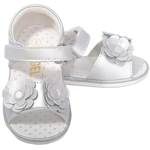 Cute Silver Flower Strap Velcro Spring Sandals Baby Girls 1-Toddler 7