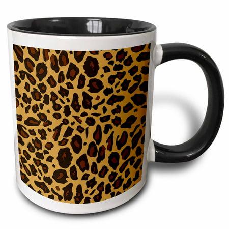 3dRose Leopard Print - cheetah spots - beige brown animal skin pattern - sassy girly stylish animal print - Two Tone Black Mug,
