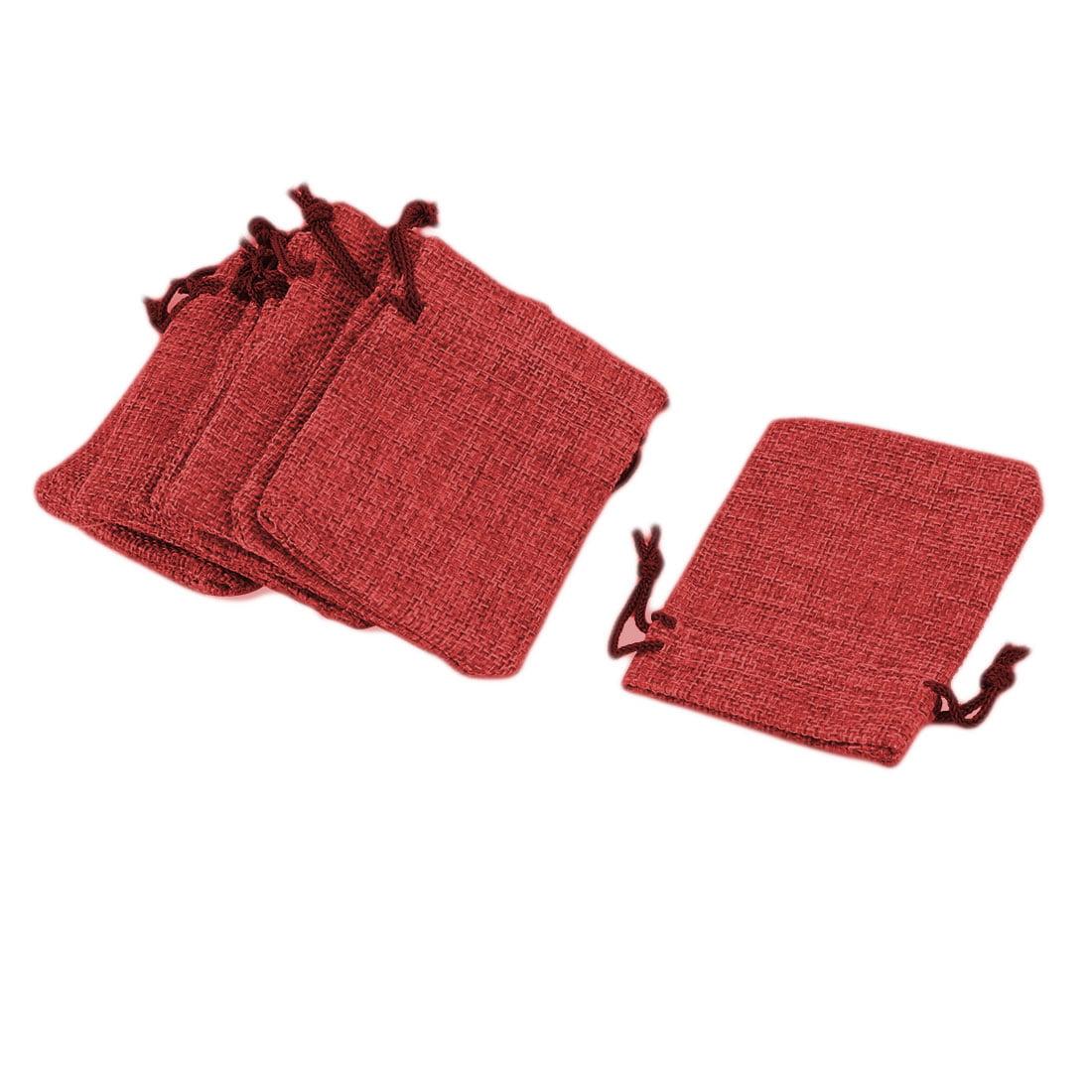 Cotton Linen Jewelry Tea Leaves Petal Holder Drawstring Bag Pouch Burgundy 10pcs