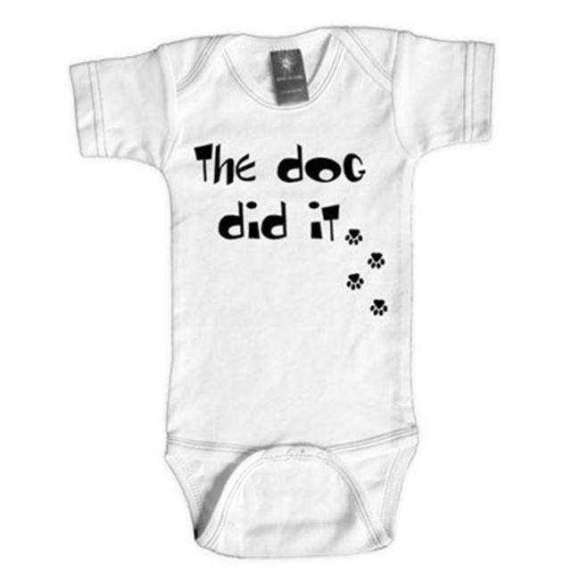 Rebel Ink Baby 357W06 The Dog Did It- 0-6 Month White One Piece Undershirt