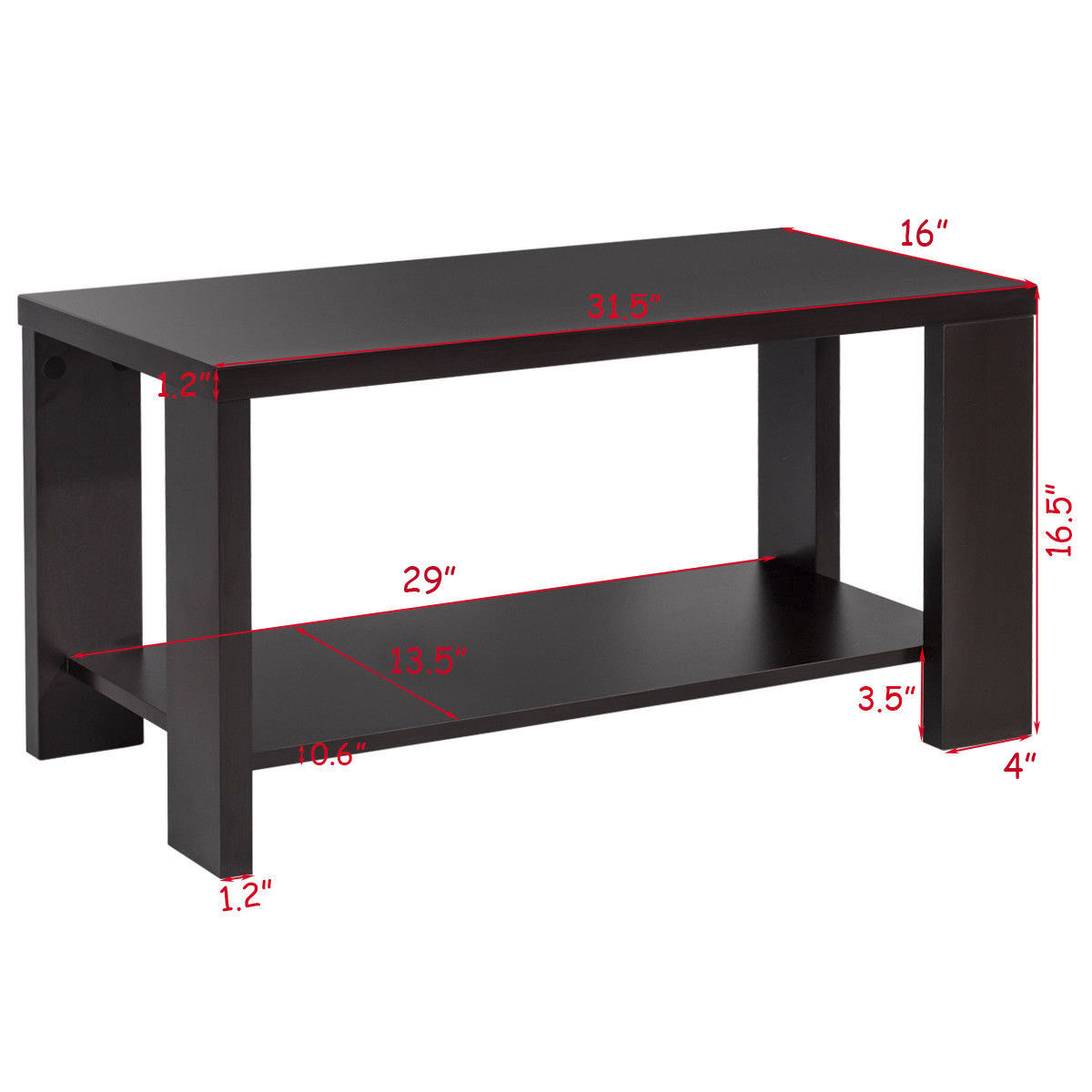Gymax Rectangular Tail Table Coffee Living Room Furniture With Storage Shelf