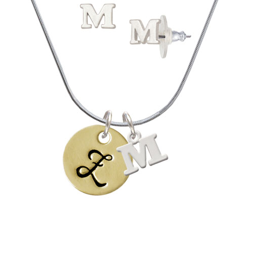 Large Gold Tone Disc Letter Z 3 4'' M Initial Charm Necklace and Stud Earrings Jewelry Set by