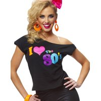I Love The 80'S Shirt Retro New Wave Womens Fancy Dress Halloween Costume