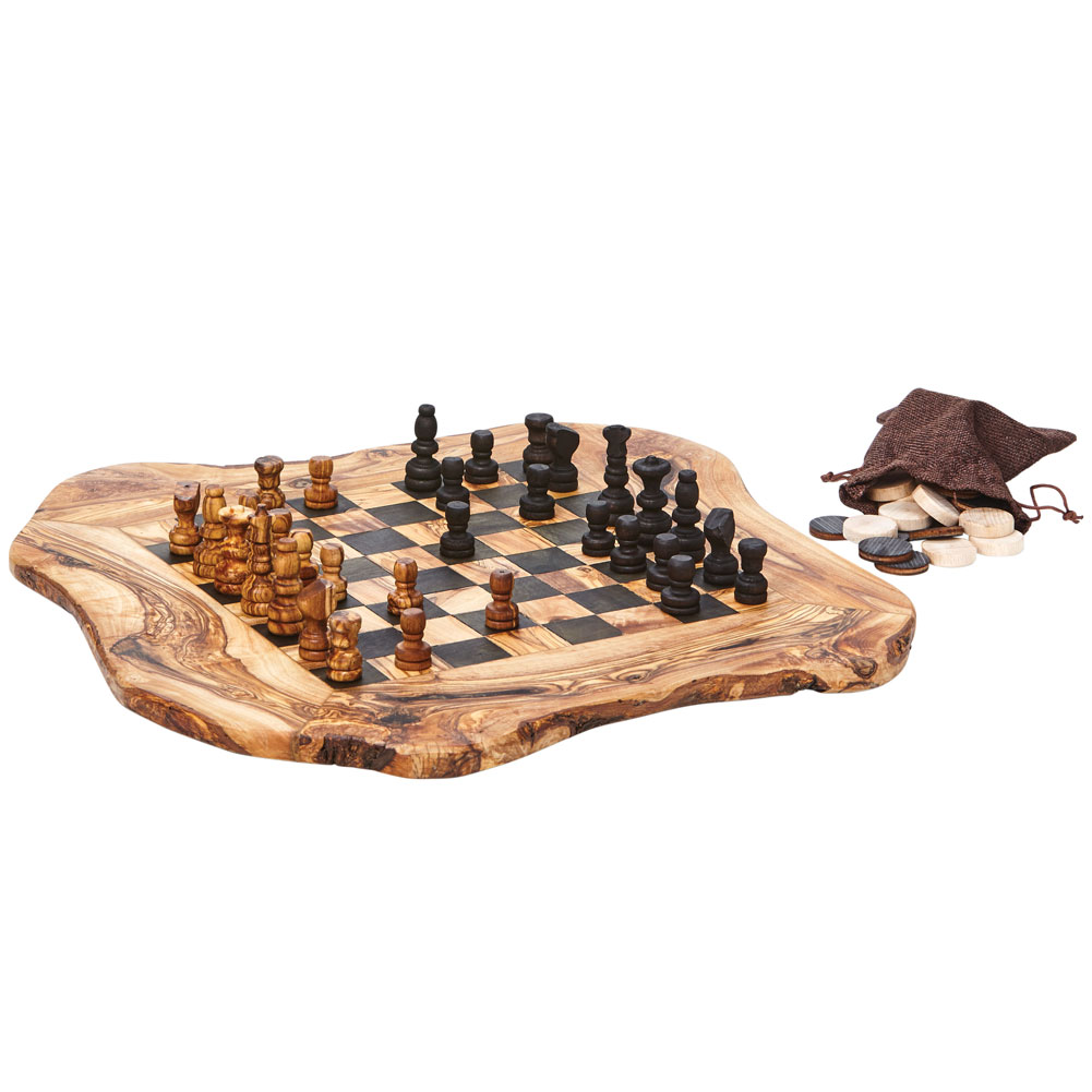 "Real Olive Wood Chess and Checkers Set Rough Cut 15"" x 16"" by"