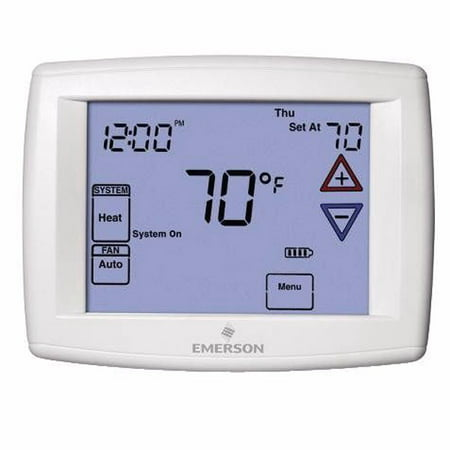 Emerson 1F97-1277 Touchscreen 7-Day Programmable Thermostat for Single-Stage and Heat Pump