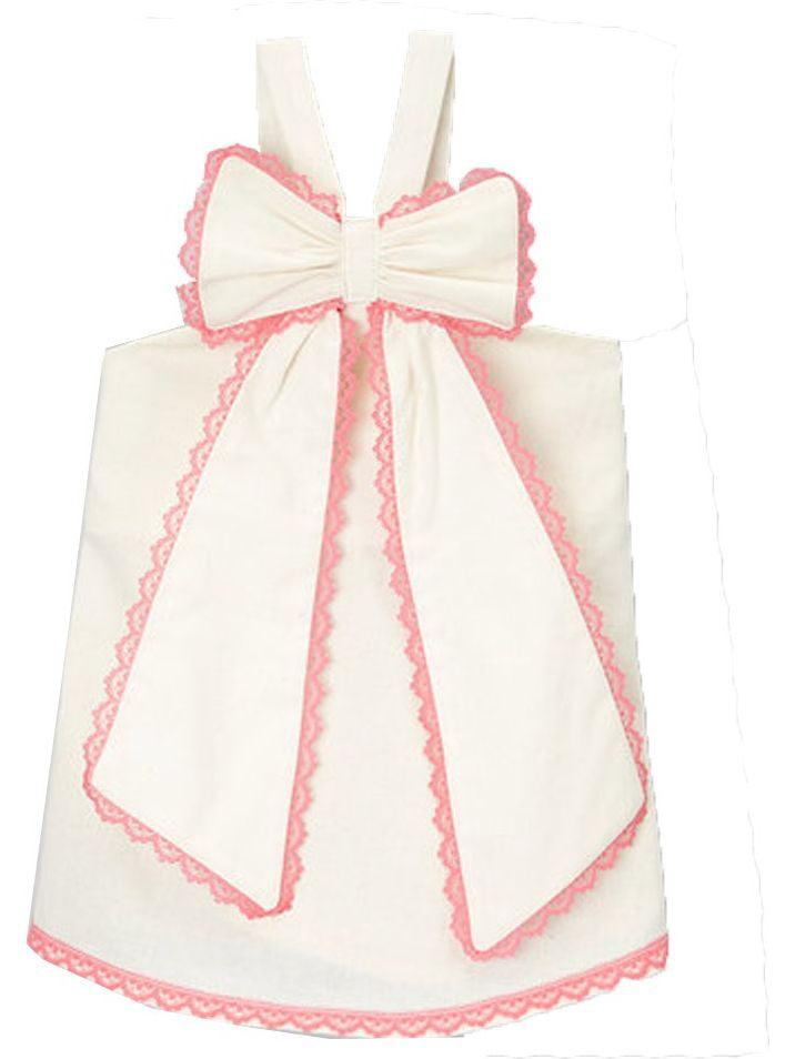 Little Girls Ivory Fuchsia Scalloped Lace Trim Bow Accent Sleeveless Shirt 12M-6