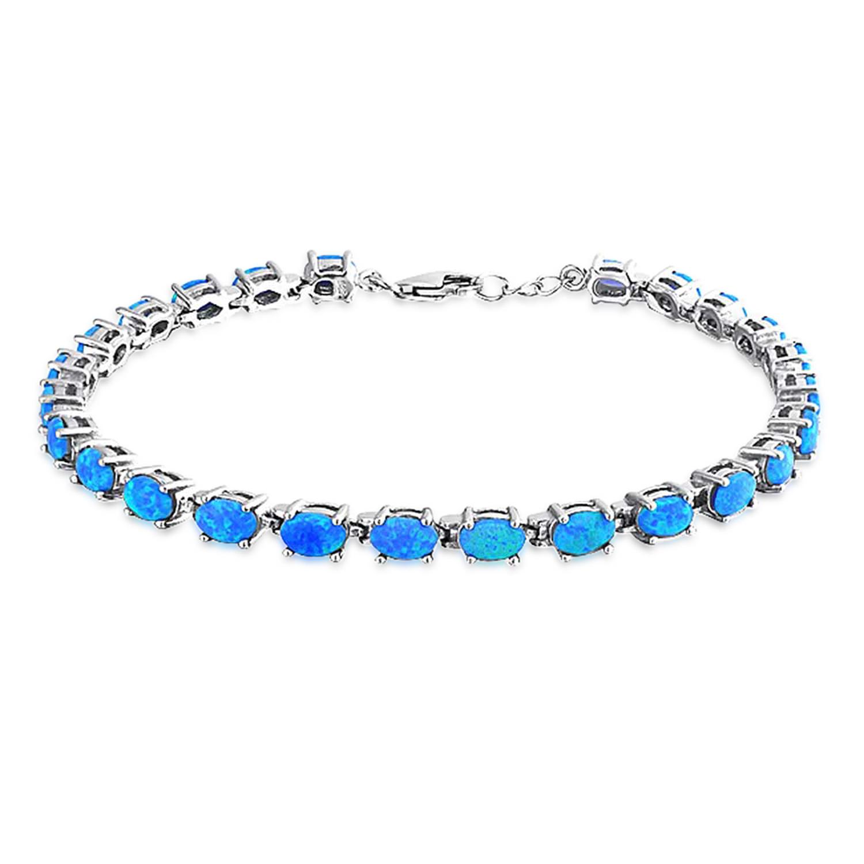 925 Sterling Synthetic Blue Opal Oval Link Tennis Bracelet 7.5in by Bling Jewelry